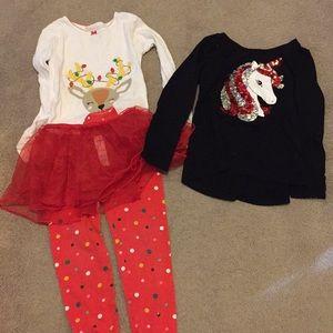 Size 6 bundle of Christmas PJs and Shirt